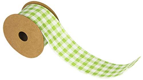 Geschenkband, Blumenbänder, Leinenband, Dekoration, Hochzeit, Tischverzierung, Geburtstag, Präsent, Schleifenband, Stoffbänder, Drahtkantenband, Farbe: Weiß/grün, BlueFox