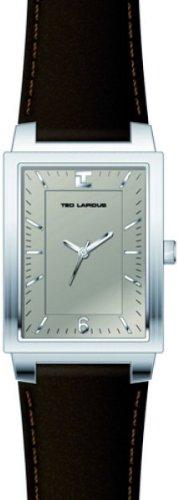 Ted Lapidus 5119502 - Reloj analógico de cuarzo para hombre, correa de cuero color marrón