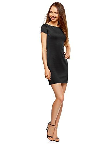 oodji Ultra Damen Enges Jersey-Kleid Schwarz (2900N)