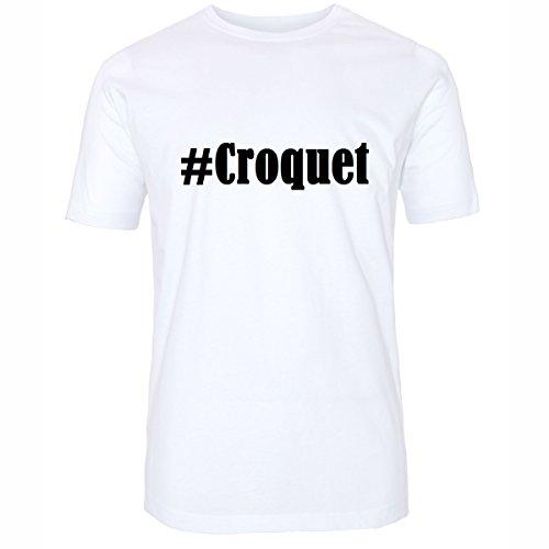 T-Shirt #Croquet Hashtag Raute für Damen Herren und Kinder ... in den Farben Schwarz und Weiss Weiß