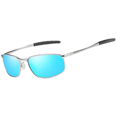 Feidu occhiali da sole polarizzati sportivi uomo occhiali da sole eleganti metallici con montatura hd obiettivo fd 9005 (blu/argento, 2.24)