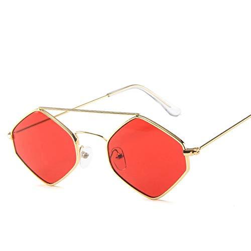 Sonnenbrille Kleine Raute Sonnenbrille Frauen Retro Quadratischen Rahmen Kleine Katze Auge Sonnenbrille Lila Gläser Weiblichen Eyewear Frame Golden Red
