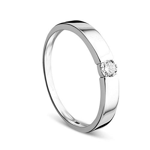 Orovi Ring für Damen Verlobungsring Gold Solitärring Diamantring 14 Karat (585) Brillianten 0.13ct Weißgold Ring mit Diamanten