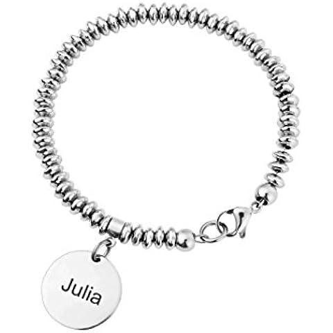 Ditto ID nome My Bugle. codice QR-Bracciale con perle in acciaio INOX, con ciondolo personalizzato identificazione.