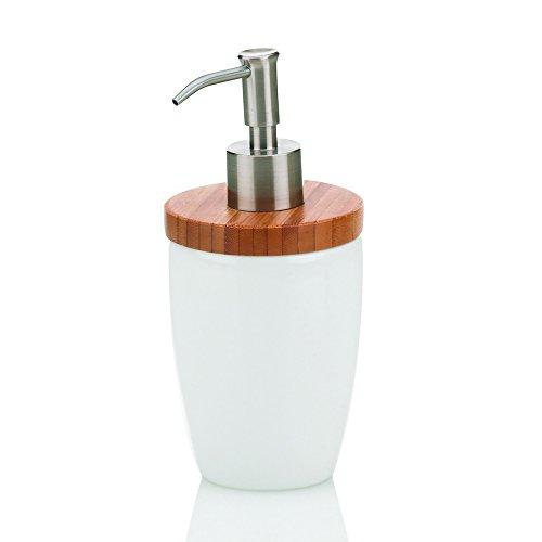 kela 18596 Natura - Dispensador de jabón líquido (cerámica y bambú), color blanco