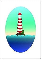 Kühlschrankmagnet, Motiv: Lonely Lighthouse on a Cliff in the Morning