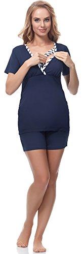 Bellivalini Damen Umstands Pyjama mit Stillfunktion BLV50-107 (Streifen-Dunkelblau, XL) (Streifen Pj Top)