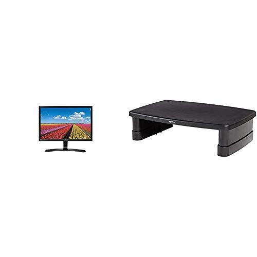 LG 32MP58HQ-P.AEU 80 cm (31,5 Zoll) Monitor (HDMI, D-Sub, 5 ms) & AmazonBasics Bildschirmständer, höhenverstellbar