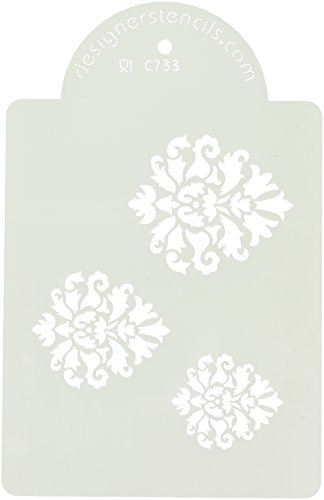 C733 Royal Damast Icon Kuchen Schablonen-Set, beige/halbtransparent (Kleine Damast-schablonen)