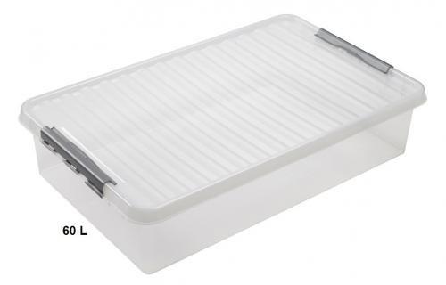 SUNWARE Q-Line Box Bettbox - 60 Liter - 800 x 500 x 180mm - transparent/silber
