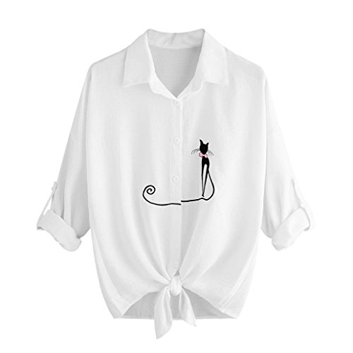 Top da donna gatto ricamato camicia con orlo annodato camicetta a maniche lunghe top camicia bianca donna camicia coreana