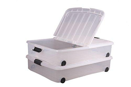 Iris 140068 Set von 2 Unterbettkommode, Rollenbox, Stapelbare Aufbewahrungsbox, Kunststoffbox, 50 L