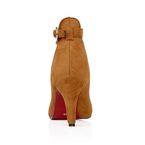 Il grande formato 34-43 di estate di modo delle donne delle pompe della fibbia a punta punta sandali tacchi sottili esercito verde giallo grigio marrone Brown