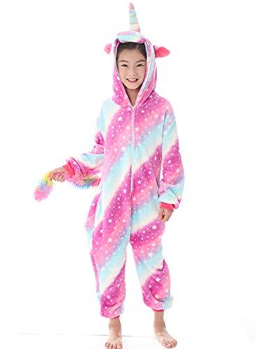 Tier Einhorn Pyjamas Cartoon Kostüm Jumpsuit Nachtwäsche Kinder Schlafanzug Erwachsene Unisex Fasching Cosplay Karneval, Star-3(kinder), 130(Höhe120-130CM)