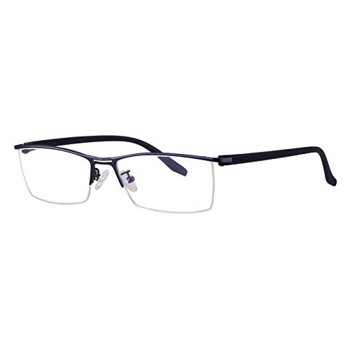 Eyetary Männer Progressive Multi-Fokus-Lesebrille, Blue Light Blocking-Leser, 1.56 Brechungsindex-Linse - Ultra Thin Rectangle Metal Frame,BlueFrame,+2.75