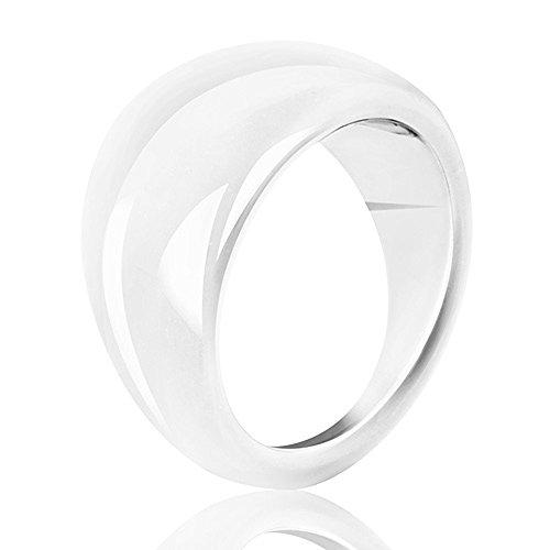 Mianova Damen Ring XXL Damenring Kunststoff Glänzend Silber Größe 54 (17.2)