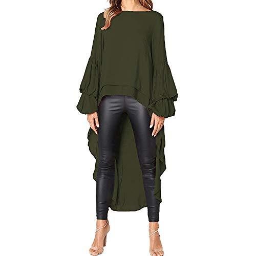Fannyfuny Damen Langarm T-Shirt Elegant Chiffon Lange Bluse Frauen Rüschen Asymmetrisch Hemd Shirt Einfarbig Pullover Tops Party Blusen -