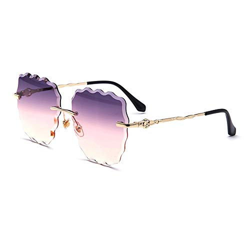 Easy Go Shopping Wave Ocean Sheet Beach Tide Brille Casual Sonnenbrillen New Ladies Fashion Boundless Sonnenbrillen Sonnenbrillen und Flacher Spiegel (Farbe : Purple)
