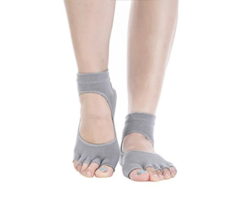 Macohome® Yoga Damen Gradient Pilates Socken für Tanz Sport Anti-Rutsch Zehensocken (Grey)