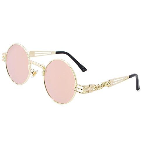 AMZTM Retro Steampunk Verspiegelt Sonnenbrille Klassischer Kreis Hippie Brille für Damen Herren Polarisierte Linse Runder Metallrahmen UV400 Schutz Alte Mode Brille (Golden Rahmen Rosa Linse, 49)