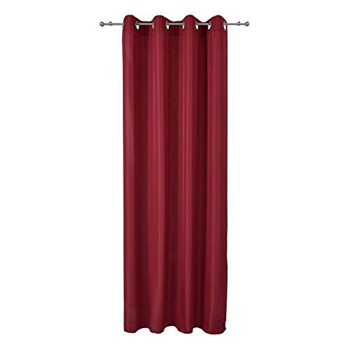 Beautissu Blickdichter Ösen-Vorhang Amelie – 140×175 cm Rot Uni – Dekorative Gardine Ösenschal Fenster-Schal - 4