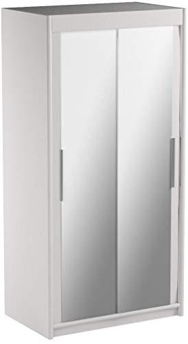 Kryspol Schwebetürenschrank Tokyo 3-100 cm mit Spiegel Kleiderschrank mit Kleiderstange und Einlegeboden Schlafzimmer- Wohnzimmerschrank Schiebetüren Modern Design (Weiß)