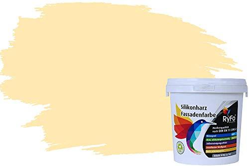 RyFo Colors Silikonharz Fassadenfarbe Lotuseffekt Trend Honiggelb 1l - bunte Fassadenfarbe, weitere Braun Farbtöne und Größen erhältlich, Deckkraft Klasse 1