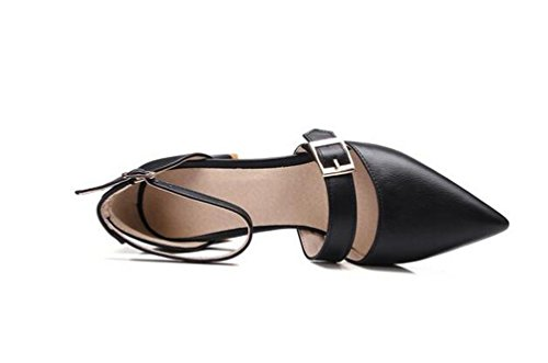Beauqueen Anke Straps Pumps Spitz-Zehen-Niet-Dekoration Chunky Low Heel Arbeit Schuhe EU Größe 33-43 Black