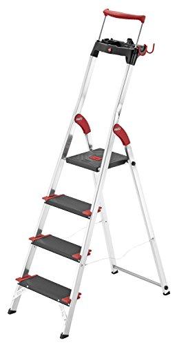 Hailo ChampionsLine XXR 225, Alu-Haushaltsleiter, 4 XXL-Stufen, EasyClix, bis 225 kg, Ablageschale, ausziehbarer Haltebügel, made in Germany, 8010-407