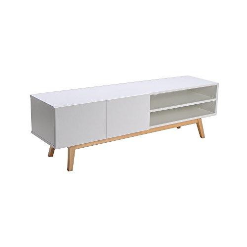 WEBER INDUSTRIES Home Meuble TV, Bois, Blanc, 160 x 42 x 50 cm
