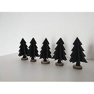 """5er-Set Papierornamente""""Tannenbaum"""" aus wahlweise schwarzem oder weißem Papier/Christbaumschmuck//Fensterdeko//Weihnachtsbaum//Christbaumkugel"""