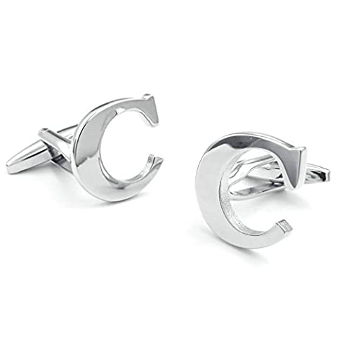 Beydodo Stainless Steel Cufflinks for Men Initial Personalized Letter C Cuff Links Mens Shirts Cufflinks