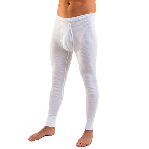 HERMKO 3542 Herren lange Unterhose Doppelripp mit Eingriff aus 100% Bio-Baumwolle, Farbe:weiß, Größe:D 5 = EU M (Bio-baumwolle Gerippt)