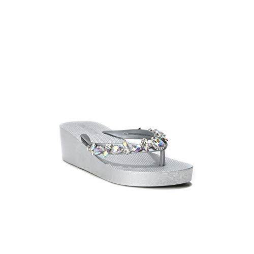 HERIXO Damen Schuhe Slippers Flip-Flops Plateau-Sohle hohe Keilabsatz Kleiner Strass-Steine Glitzer edel Luxus Zehentrenner Glas (40 EU, Silver) Luxus Strass