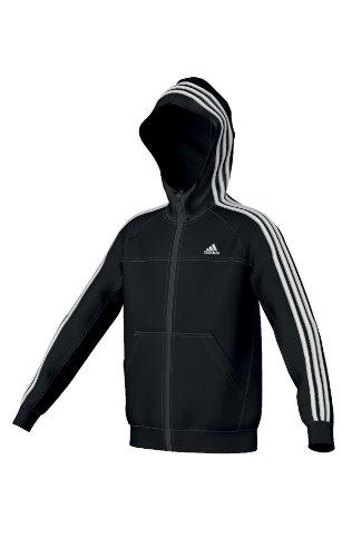 adidas Jungen Kapuzenjacke Essentials 3S FZ Hood, Black/White, 140, Z57575 (Hood Fz)