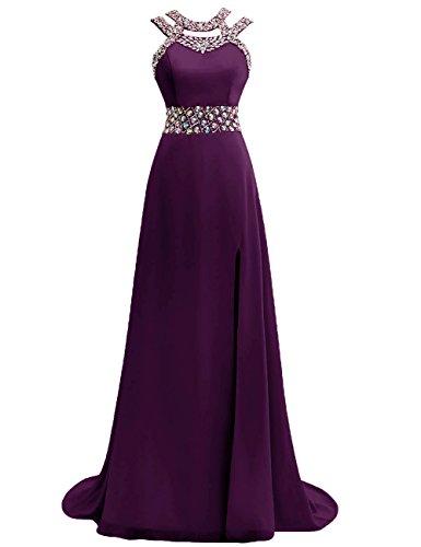 Ballkleider Abendkleider Lang Damen Festkleider Hochzeitskleider Chiffon A Linie Traube EUR56