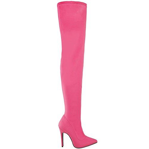donna lycra lungo sopra al ginocchio coscia Stivali stretch tacco alto BALI taglia Barbie Rosa Lycra