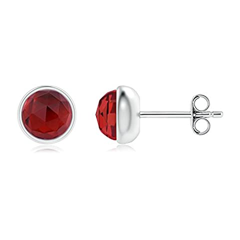 Bezel Set Garnet Solitaire Stud Earrings in Silver (5mm