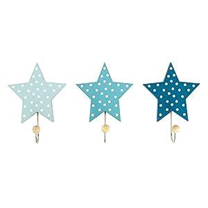 """JaBaDaBaDo """"Wandhaken Sterne 3er Set blau grau oder rosa Kinder Garderobe Kleiderhaken Junge Mädchen (Blau)"""