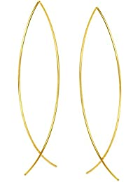 14ct Yellow Gold Linear Design Curved Wire Threader Earrings