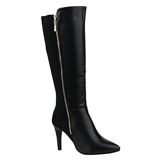 Stiefelparadies Elegante Damen Schuhe Stiefel High Heels Boots Stilettos Gefüttert 155960 Schwarz Bernice 36 Flandell