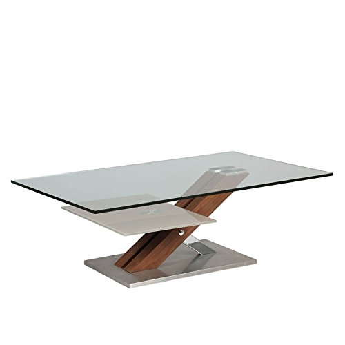 Tousmesmeubles Table Basse en Verre et Bois - Ray - L 120 x l 70 x H 40 - Neuf