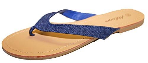 Tongs Sandales Claquettes Pieds Nus Femme Toile Jeans Vacances Plage Fashion Jeans Marine