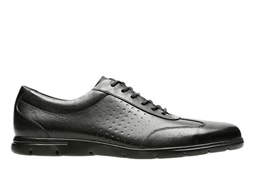 Clarks vennor vibe, scarpe stringate derby uomo, nero (black leather-), 42 eu
