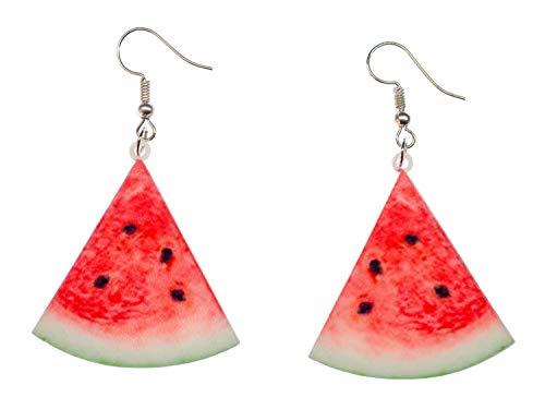 Melone Ohrringe Hänger Miniblings Wassermelone Obst Melonen Dreieck Melonenstück