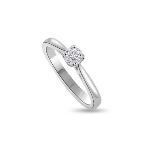0,30 quilates G/VS1 Anillo solitario de compromiso de diamante para mujer con Redonda diamantes en 950 Platino