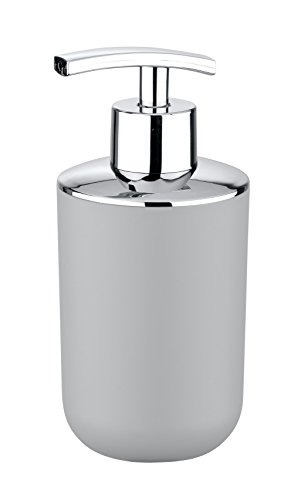 Wenko 22247100 Seifenspender Brasil absolut bruchsicher Fassungsvermögen 0,32 L, Thermoplastischer Kunststoff TPE, grau, 9 x 7,3 x 16,5 cm