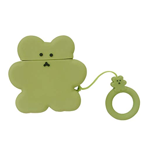 Aisoway Super Nette Süßigkeit-Farben-Kopfhörer-Fall-Plätzchen-Bären-Fall-weiche Silikon-Wireless-Charging-Kopfhörer wasserdichte Schutzfolie (Grün) -