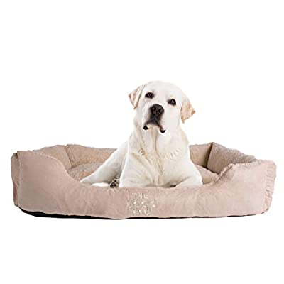 The Dog's Bed, Premium Plush Dog Beds in Grey & Brown S/M/L, Fully Washable with Removable Pillow, Hyper-Allergenic, High Quality & Extremely Soft & Comfortable ? The Ultimate in Pet Luxury:)