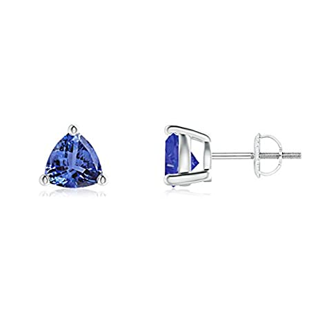 Basket Setting Trillion-Cut Tanzanite Stud Earrings in 14K White Gold (6mm Tanzanite)